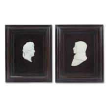 A pair of Wedgwood style bisque cameo portraits, 19th century