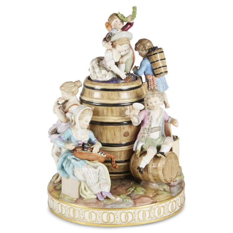 A Meissen porcelain figural group, The Vintners, 1815-1860