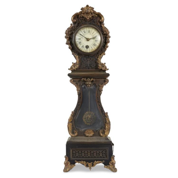 A diminutive Boulle style tallcase clock, 19th century