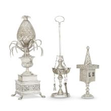 A group of Continental silver judaica objects, unmarked, 19th century