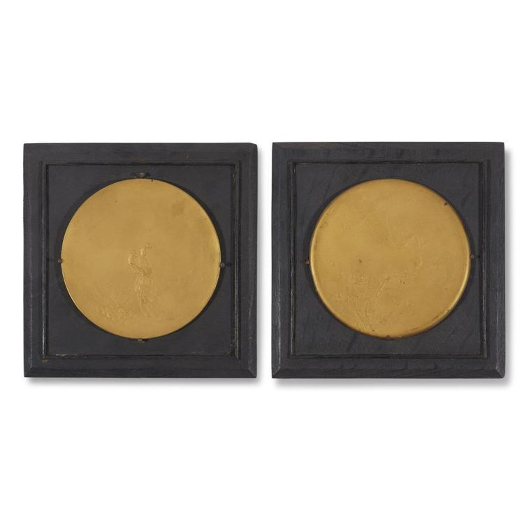 A pair of mounted gilt bronze medallions in the Chinese taste, Victor David Brenner (Litvak-American, 1871–1924), 1900