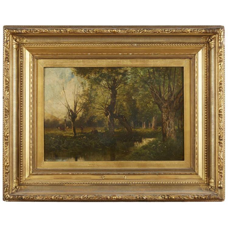 EUGÈNE CICERI, (FRENCH 1813-1890), FIGURES IN A WOODED LANDSCAPE