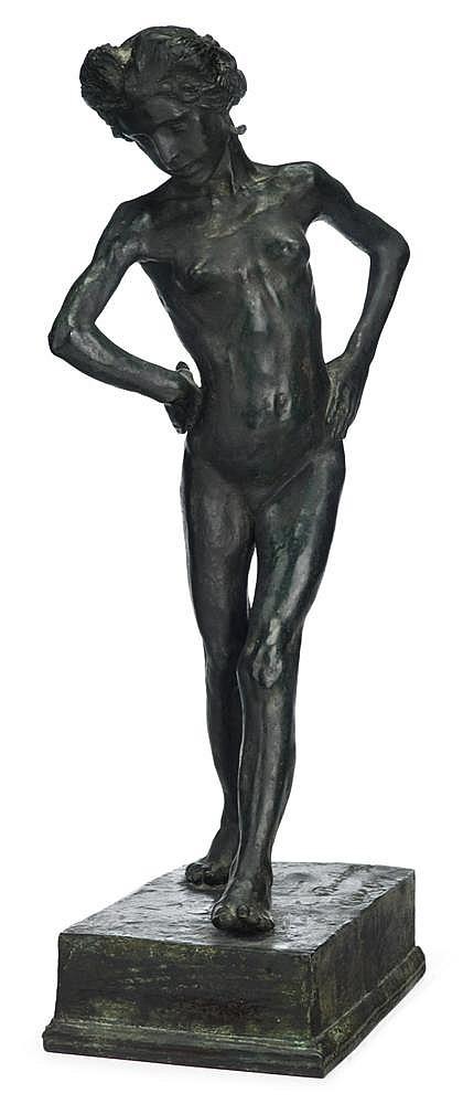 Henri Louis Bouchard (French, 1875-1960), jeune romaine dansant, Bronze, dark verdigris patina, on rectangular base, signed H. Bouchard