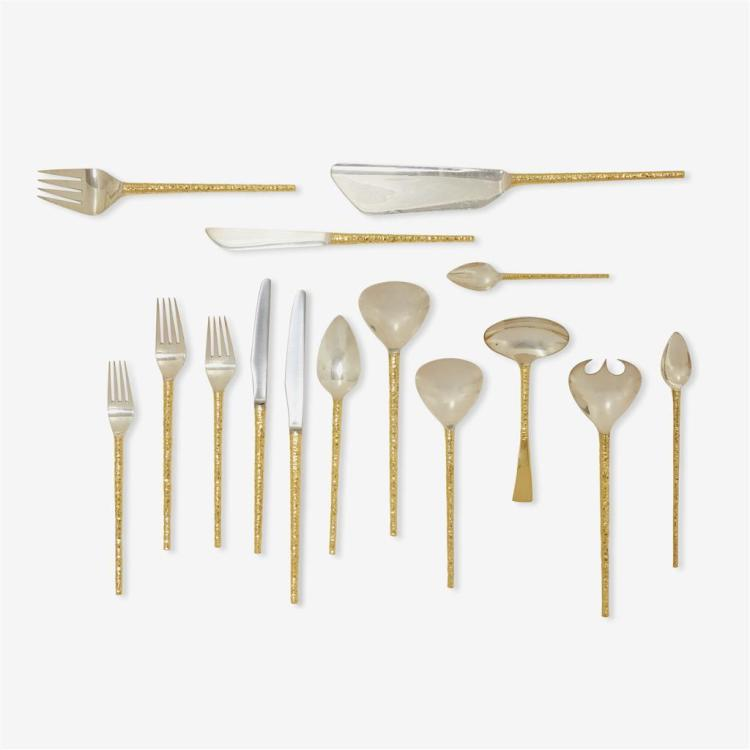 A fine Elizabeth II silver and silver-gilt ''Round Handle'' pattern flatware service for eleven, Stuart Devlin, London, 1968-69