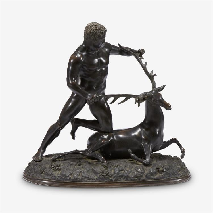 A Fonderia Chiurazzi bronze after the antique, Hercules and the Capture of the Ceryneian Hind, early 20th century