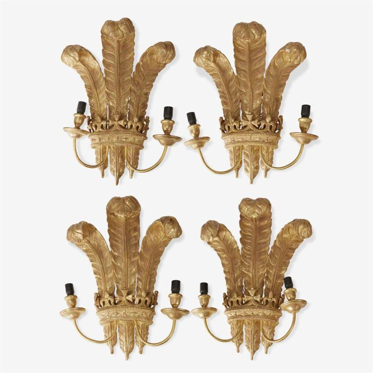 Set of four large giltwood two-light sconces in the form of the plumed crest of the Prince of Wales, 20th century