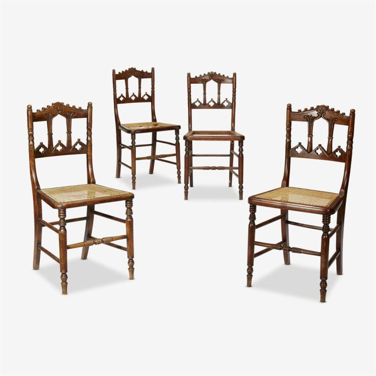 A set of seven Victorian gothic revival caned sidechairs, Second quarter, 19th century