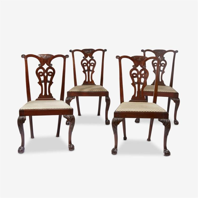 A set of four George III style mahogany side chairs, 19th century
