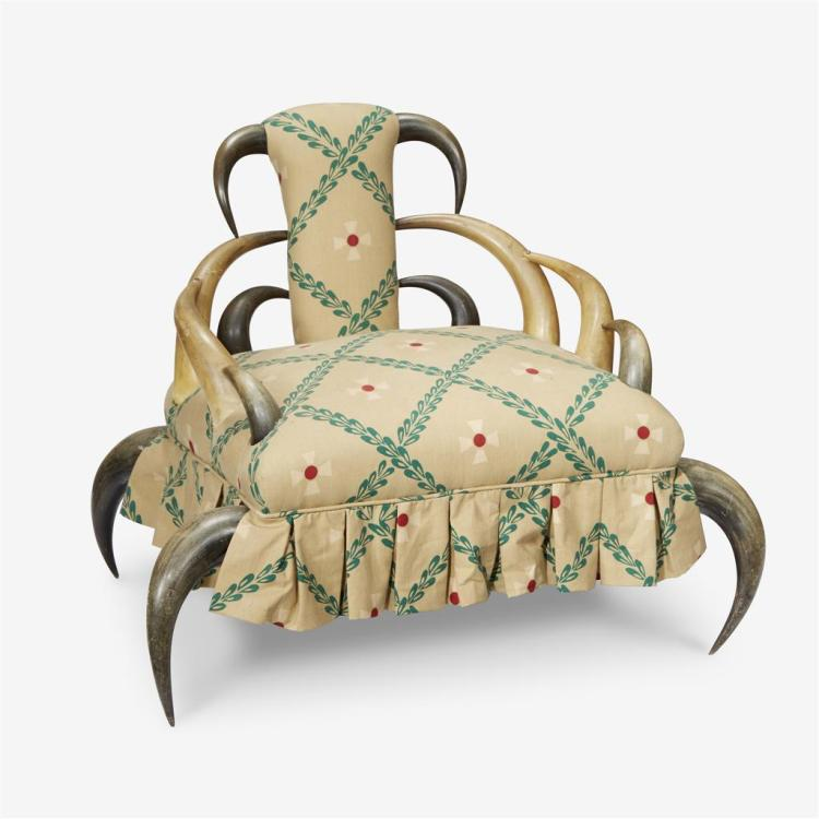 An antique horn upholstered armchair, Late 19th/early 20th century