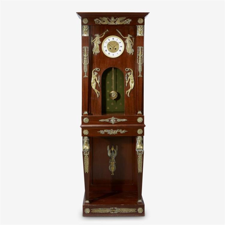 An Empire style gilt-bronze mounted and emerald silk-lined mahogany tall case clock, Late 19th century