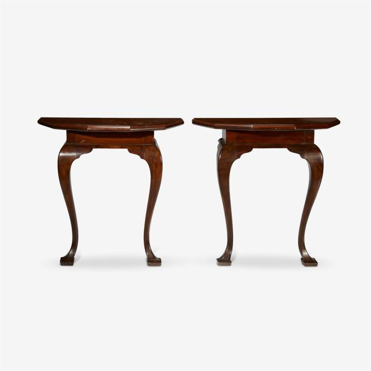 A pair of George I style mahogany console tables, 20th century