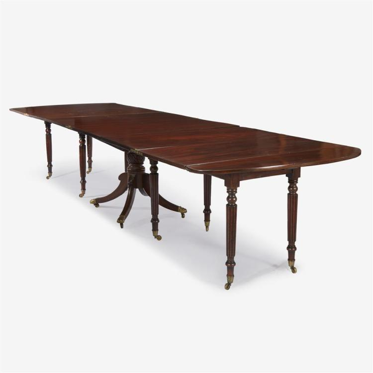 An American three section extending mahogany dining table, Circa 1850