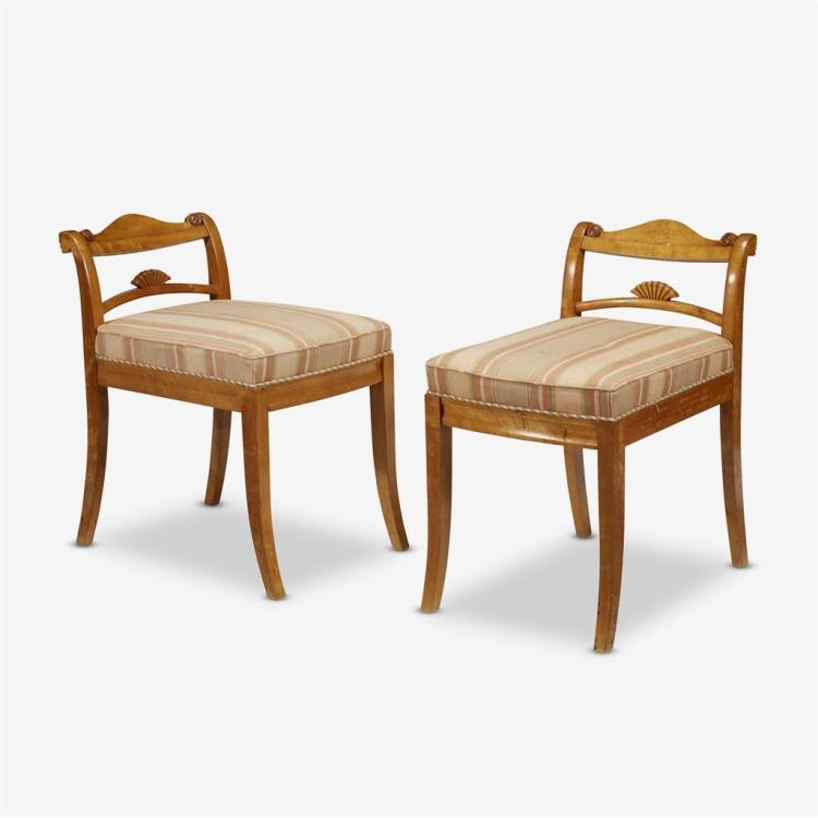 A pair of Swedish birch neoclassical style low-backed chairs, 20th century