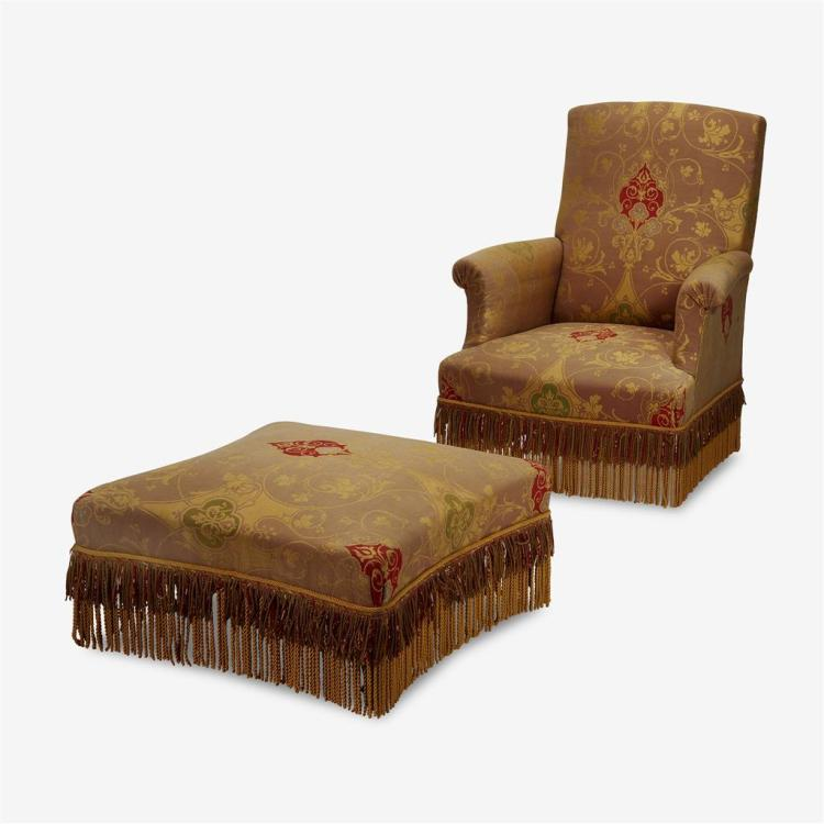 A Napoleon III upholstered club chair and ottoman, 19th century