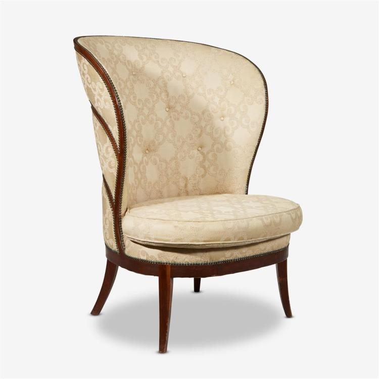 A Biedermeier style mahogany and upholstered barrel back chair, Late 19th/early 20th century