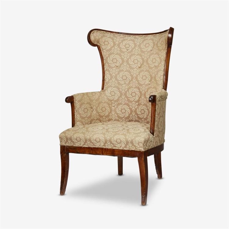 A Biedermeier walnut and upholstery wingback chair, 19th century