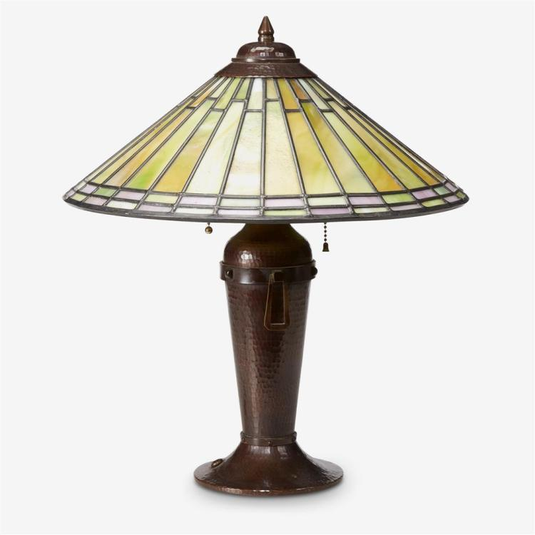 A copper and leaded glass table lamp, Victor Toothaker, Roycroft and Steuben, East Aurora, New York, 1920s