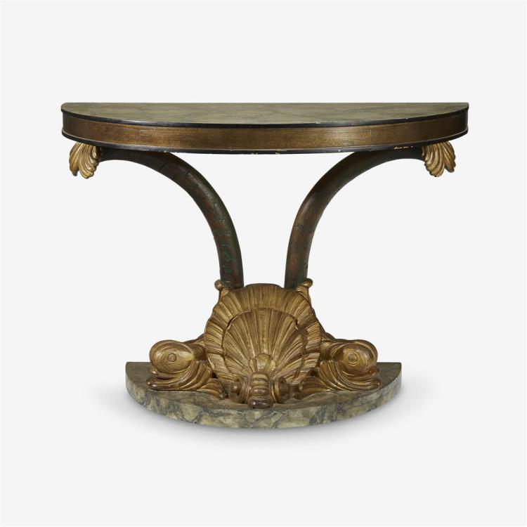 A Continental parcel-gilt and faux-marble painted carved mahogany demilune console table, 20th century