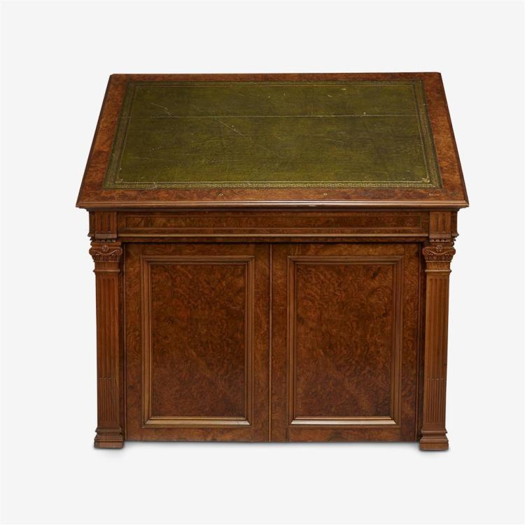 A Victorian walnut folio cabinet, Mid 19th century