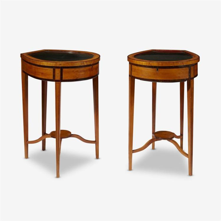 A pair of Edwardian satinwood vitrine tables, Early 20th century