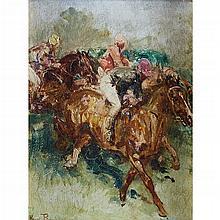 HENRI EMILIEN ROUSSEAU, (FRENCH 1875-1933), JOCKEYS TAKING THE FENCE