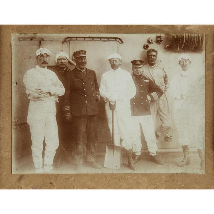 UNKNOWN ARTIST, (BRITISH 19TH CENTURY), THE PRINCE OF WALES & FRIENDS DRESSED AS COLLIERS ABOARD A BRITISH WAR SHIP