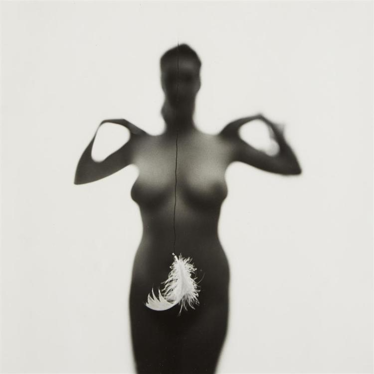 HARRY CALLAHAN, (AMERICAN 1912-1999), ELEANOR SILHOUETTE WITH FEATHER