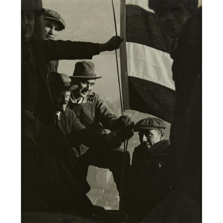 LEWIS WICKES HINE, (AMERICAN 1874-1940), WORKERS WITH FLAG