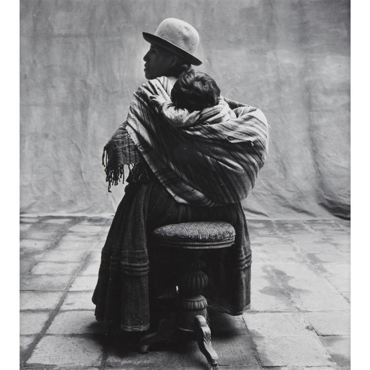 IRVING PENN, (AMERICAN 1917-1999), SEATED MOTHER CARRYING CHILD, CUZCO (PERU)