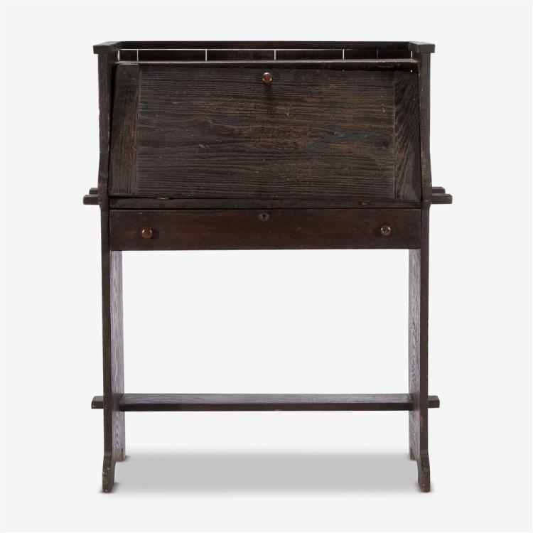 An Arts & Crafts ebonized oak drop-leaf desk, First quarter 20th century