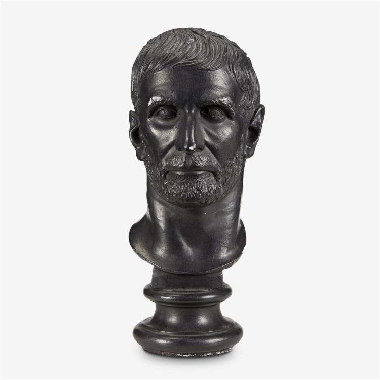 A painted plaster potrait bust after the antique, The Capitoline Brutus, 20th century