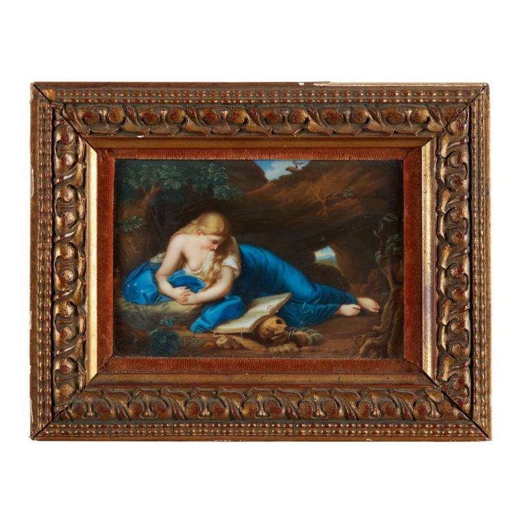 A Dresden painted porcelain plaque, The Penitent Magdalen, second half 19th century