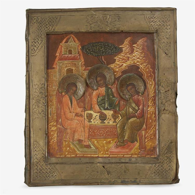 A Russian Icon of the Hospitality of Abraham, or The Holy Trinity, Late 18th/early 19th century