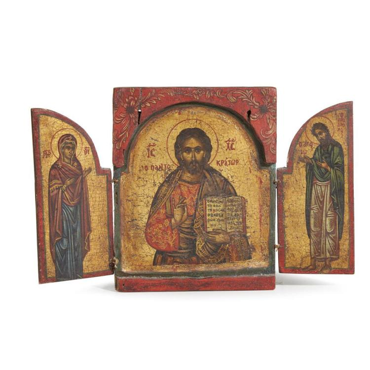 A Greek traveling triptych of the Deesis, Late 19th/early 20th century