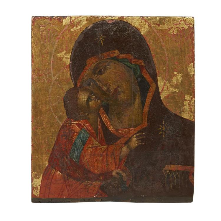 A Russian Icon fragment of the Vladimir Mother of God, Possibly part 17th century