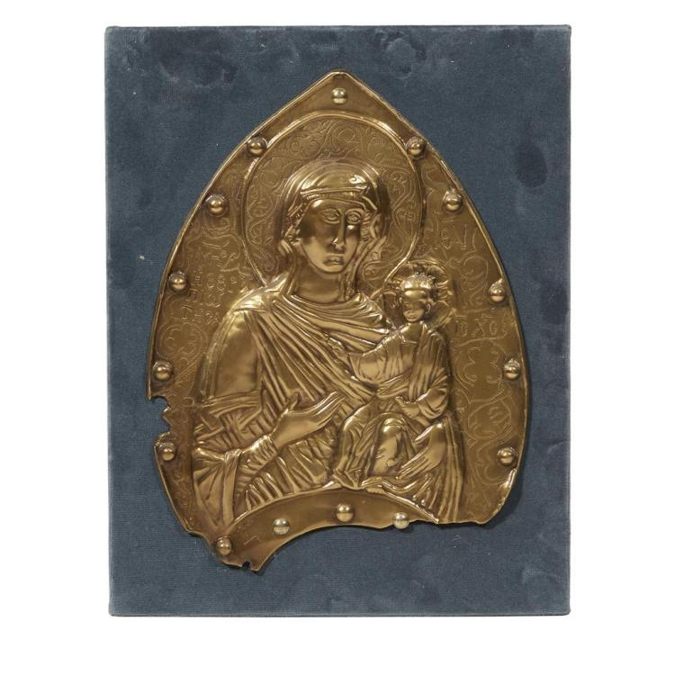 A brass repoussé Icon of the Mother of God, Possibly Greek