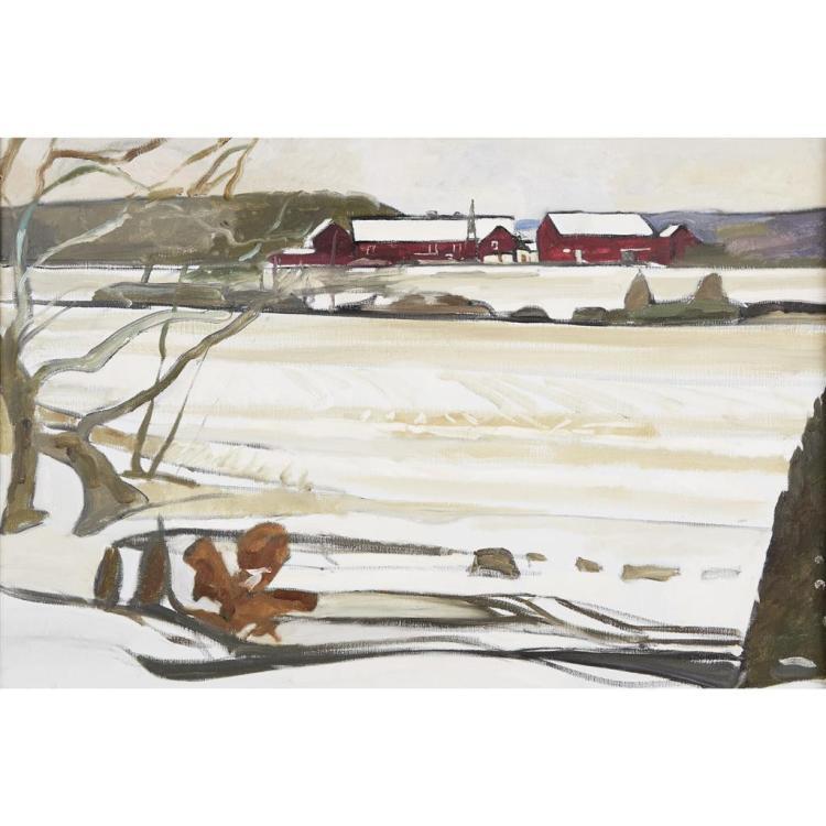 REEVE SCHLEY, (AMERICAN B. 1936), ISLAND FARM IN SNOW