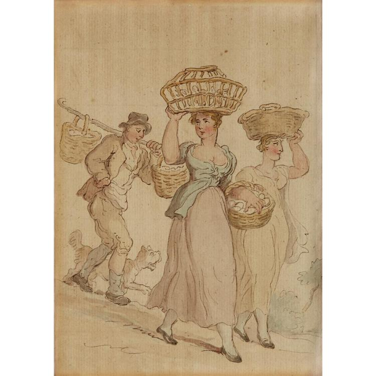 SCHOOL OF THOMAS ROWLANDSON, (LATE 18TH/ EARLY 19TH CENTURY), TWO WOMEN CARRYING PRODUCE BASKETS TO MARKET