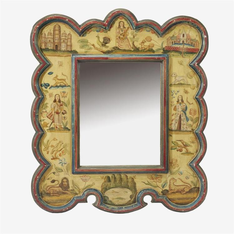 A Spanish medieval style polychrome painted wall mirror, 20th century