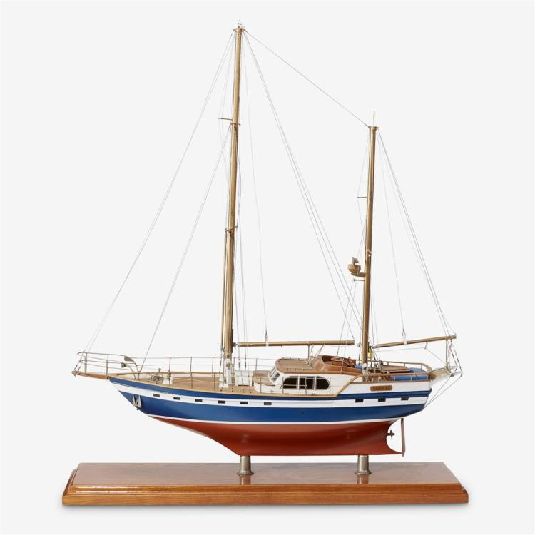 A wooden ship model of the sailing yacht Laucala, 20th century