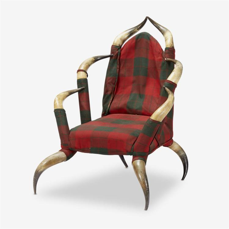 An antique horn armchair with plaid upholstery, Late 19th/early 20th century