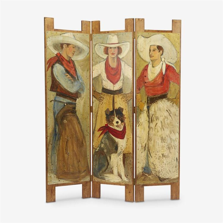 A folding floor screen painted with cowboys, Carla Palmese (California), 20th century