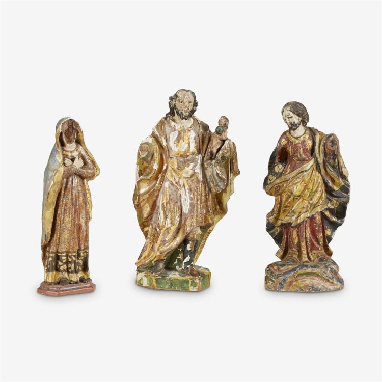 Three Continental gessoed and polychrome painted carved wood religious figures, 19th century
