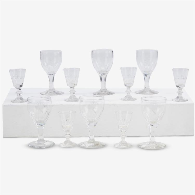 Twelve Napoleon III engraved crystal cordial and sherry glasses, Third quarter 19th century