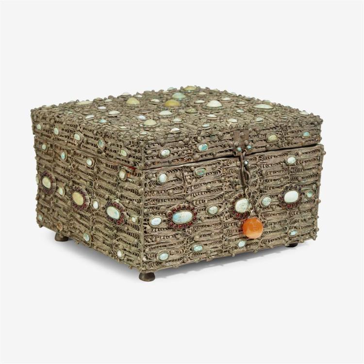 A Moroccan gem-set filigree box, 20th century