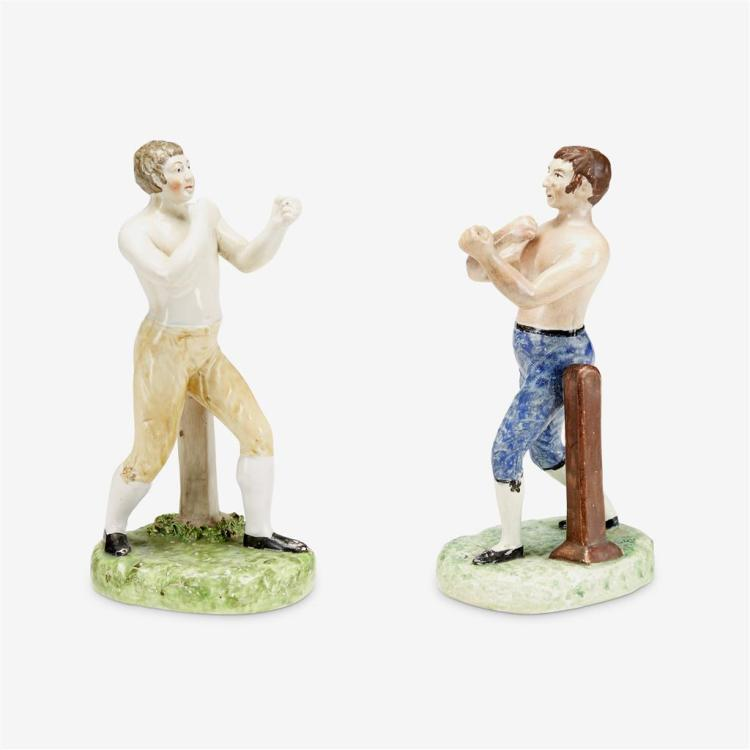 Two Staffordshire boxing figures, Late 19th/early 20th century