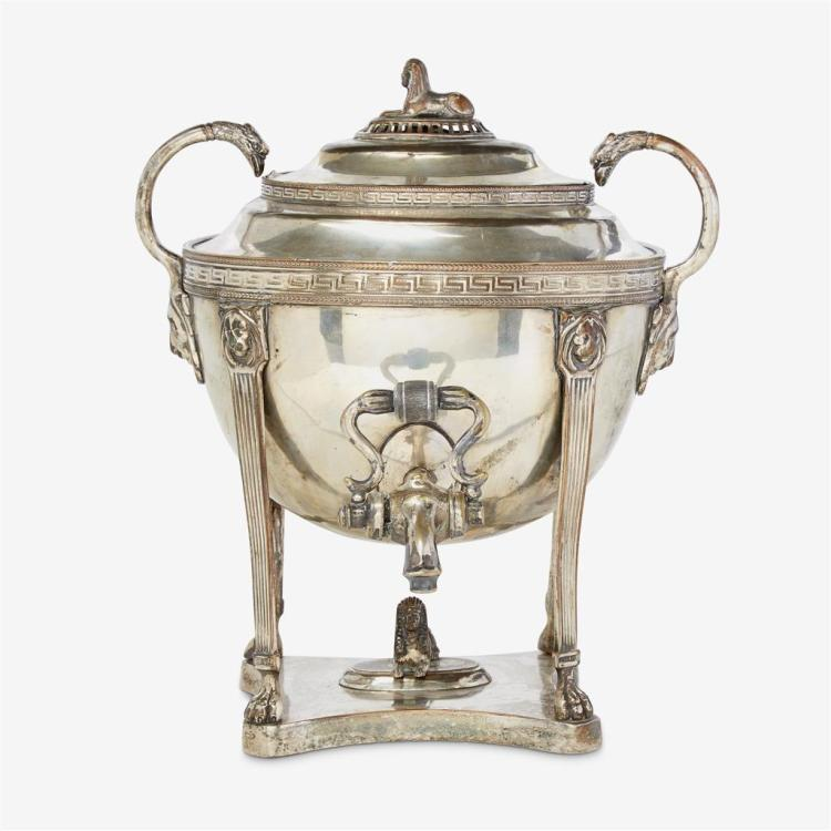 A Regency silver-plated hot water urn in the Egyptian taste, Early 19th century