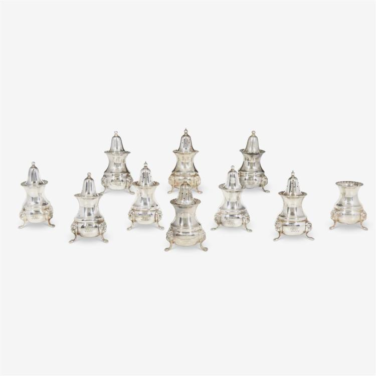 Ten Elizabeth II Iranian Imperial Armorial Ambassadorial salt and pepper casters, Mappin & Webb, Sheffield, England, 1973