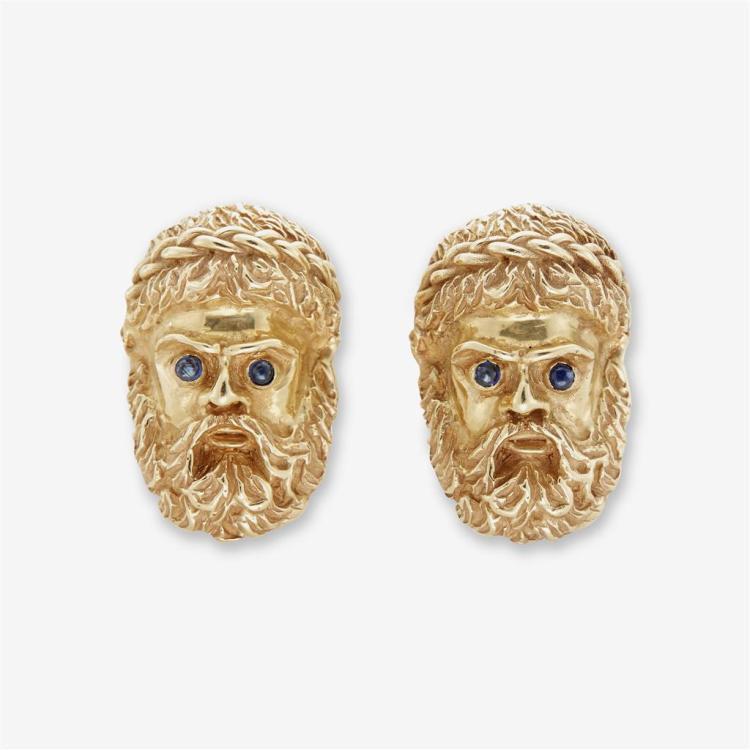A pair of continental gem-set 18K gold