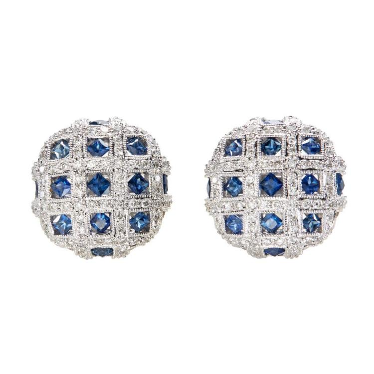 A pair of sapphire and diamond set 18K white gold cufflinks, Unknown maker, marked 18k, 750